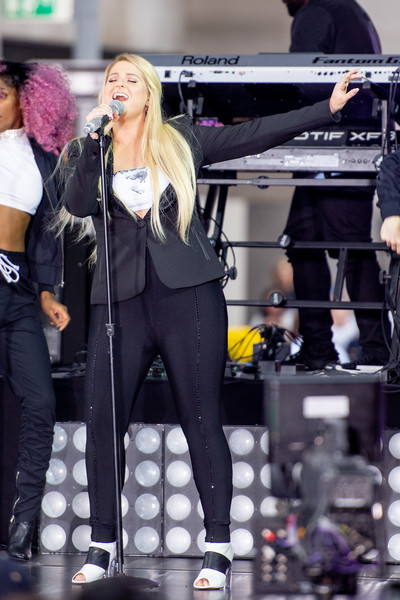 Meghan Trainor Ankle Boots [today celebrates the international day of the girl,performance,tights,leggings,sportswear,footwear,fashion,event,street fashion,trousers,music artist,meghan trainor,new york city,rockefeller plaza,nbc,michelle obama celebrates international day of the girl on]