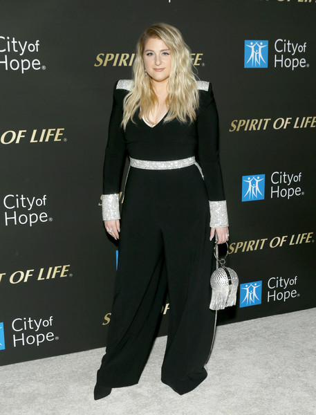 Meghan Trainor Beaded Purse [clothing,suit,fashion,formal wear,dress,shoulder,carpet,event,premiere,pantsuit,meghan trainor,spirit of life 2019 gala - arrivals,spirit of life 2019 gala,santa monica,california,the barker hanger,city of hope]