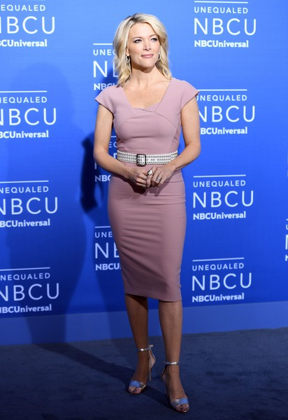 Megyn Kelly Evening Sandals [nbcuniversal 2017,photo,clothing,dress,cobalt blue,cocktail dress,shoulder,electric blue,premiere,hairstyle,fashion,carpet,arrivals,megyn kelly,angela weiss,nbcuniversal upfront,new york city,nbc,afp]