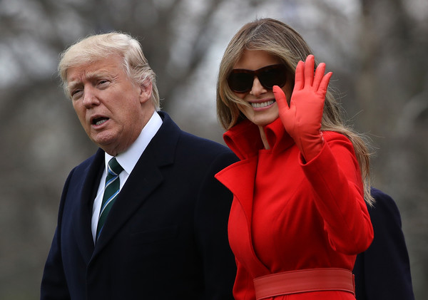 Melania Trump Leather Gloves [red,facial expression,eyewear,human,suit,outerwear,glasses,formal wear,gesture,event,donald trump,melania trump,first lady,president,r,son baron depart white house en route to mar-a-lago,white house,u.s.,estate,l]