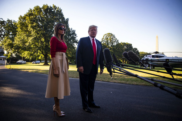 Melania Trump Pumps [photograph,yellow,standing,suit,sky,ceremony,formal wear,dress,wedding,photography,donald trump,president,mrs,melania trump,marine one,brussels,u.s.,south lawn,white house,nato summit]