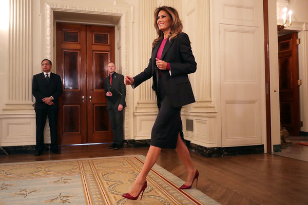 Melania Trump Pumps [melania trump hosts roundtable on cyberbullying with tech industry giants,standing,flooring,floor,room,melania trump,industry experts,safety,technology,effort,u.s.,amazon,discussion,policy push]