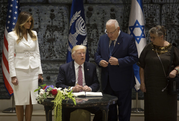 Melania Trump Skirt Suit [event,ceremony,official,speech,watch,donald trump,reuven rivlin,melania trump,nehama,r,president,israeli,us,israel out]