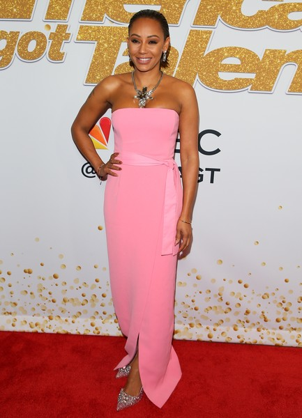 Melanie Brown Evening Pumps [dress,clothing,red carpet,shoulder,carpet,strapless dress,pink,fashion model,hairstyle,fashion,red carpet,americas got talent,season,california,los angeles,mel b]