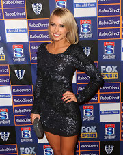 Bridget Bauman lit up the Melbourne Rebels Winter Ball in a sparkly long-sleeve beaded dress.