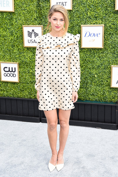 Melissa Benoist Print Dress [clothing,dress,pattern,polka dot,fashion,footwear,street fashion,snapshot,design,shoe,arrivals,melissa benoist,burbank,california,cw network,warner bros. studios,fall launch event]