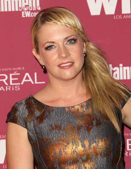 Melissa Joan Hart Diamond Studs [hair,magazine,hairstyle,blond,chin,lip,premiere,publication,brown hair,long hair,melissa joan hart,arrivals,west hollywood,california,boa steakhouse,entertainment weekly and women in film pre-emmy party]