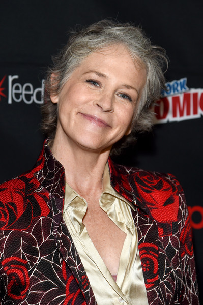 Melissa McBride Messy Cut [comic con the walking dead panel,hair,hairstyle,premiere,lip,blond,event,long hair,smile,melissa mcbride,panel,the theater at madison square garden,new york city]