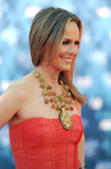 Melora Hardin Gemstone Statement Necklace [american idol 2011,finale - results show,hair,hairstyle,blond,shoulder,lady,beauty,long hair,premiere,layered hair,hair coloring,arrivals,melora hardin,finale results,california,los angeles,nokia theatre la live,fox,season]