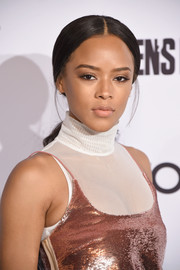 Serayah went old school with this low, center-parted ponytail at the Men's Fitness Game Changers event.