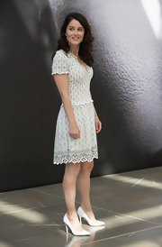 Robin Tunney's delicately printed frock had a soft and romantic vibe at the photo call for 'The Mentalist.'