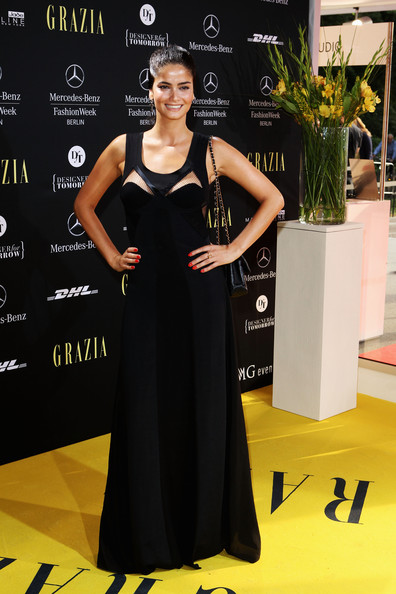 Shermine Shahrivar looked great in a long black gown with chest cutouts at the Grazia Preview Show.