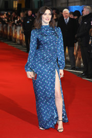 Rachel Weisz flashed some leg in a high-slit blue print gown by Miu Miu at the world premiere of 'The Mercy.'