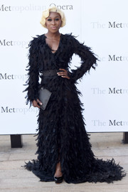 Cynthia Erivo stole the spotlight in a floor-sweeping feathered gown by Christian Siriano at the Met Opera opening performance of 'Tristan und Isolde.'