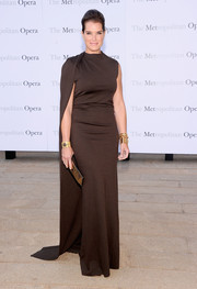 Brooke Shields chose a simple yet dramatic caped evening dress for the 'Eugene Onegin' opening.