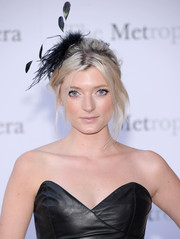 Sophie Sumner was edgy-glam at the 'Eugene Onegin' opening with this messy updo and leather dress combo.