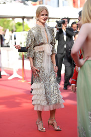 Nicole Kidman looked ultra glam in a silver Rodarte sequin dress with ruffle detailing at the Cannes Film Festival screening of 'The Meyerowitz Stories.'