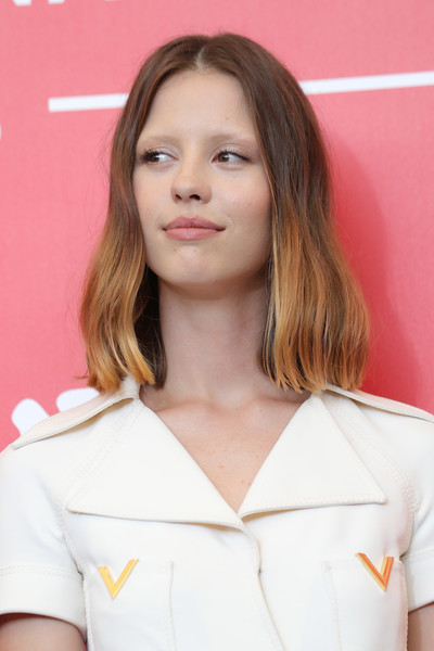 Mia Goth Medium Wavy Cut [suspiria photocall - 75th,hair,face,hairstyle,eyebrow,beauty,skin,blond,chin,brown hair,long hair,mia goth,photocall,venice,italy,sala casino,venice film festival,75th venice film festival,mia goth,suspiria,2018 venice film festival,film festival,venice,fashion,actor,celebrity,2018,red carpet fashion]