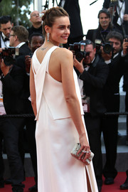 Kasia Smutniak paired a beaded silver clutch with a white gown for the Cannes premiere of 'Mia Madre.'