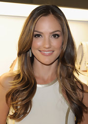 Minka Kelly wore a shiny nude lipstick at the opening of a Michael Kors boutique in Los Angeles.