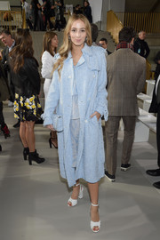 Harley Viera-Newton paired her coat with white knot-detail peep-toes, also by Michael Kors.