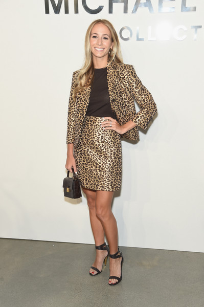Harley Viera-Newton's gold leopard-print skirt suit at the Michael Kors show was a glamorous take on business dressing!