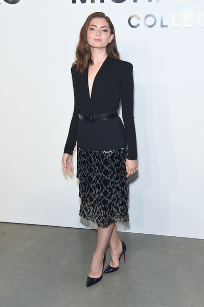 A metallic print pencil skirt, also by Michael Kors, polished off Emily Robinson's look.