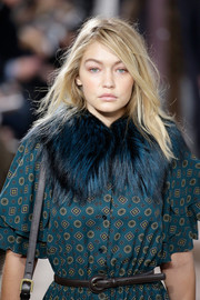 Gigi Hadid accessorized with a skinny leather belt at the Michael Kors Fall 2015 show.