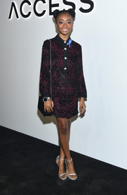 Skai Jackson polished off her look with a pair of silver Stuart Weitzman Nudist sandals.