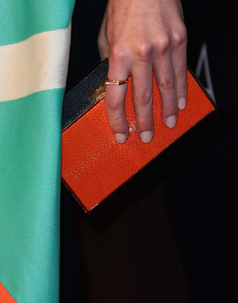 Michelle Dockery Box Clutch [green,hand,finger,orange,material property,textile,yoga mat,nail,gesture,jaguar - arrivals,michelle dockery,fashion detail,los angeles,sls hotel,beverly hills,california,tv tea 2014,bafta,bbc america]