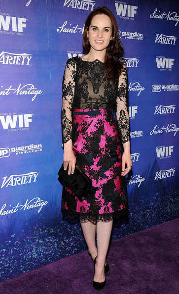 Michelle Dockery Velvet Clutch [clothing,dress,cocktail dress,fashion,cobalt blue,hairstyle,carpet,premiere,electric blue,fashion model,michelle dockery,arrivals,scarpetta,beverly hills,california,variety and women in film pre-emmy event]