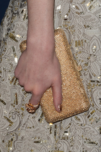Michelle Dockery Statement Ring [nail,fashion,gold,dress,leg,hand,joint,haute couture,beige,finger,michelle dockery,post-party - arrivals,detail,the beverly hilton hotel,beverly hills,california,instyle,warner bros. 71st annual golden globe awards,warner bros. 71st annual golden globe awards post-party]