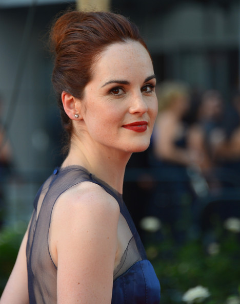 Michelle Dockery Diamond Studs [hair,face,hairstyle,beauty,lip,lady,eyebrow,skin,chin,fashion,arrivals,michelle dockery,california,los angeles,nokia theatre l.a. live,primetime emmy awards]