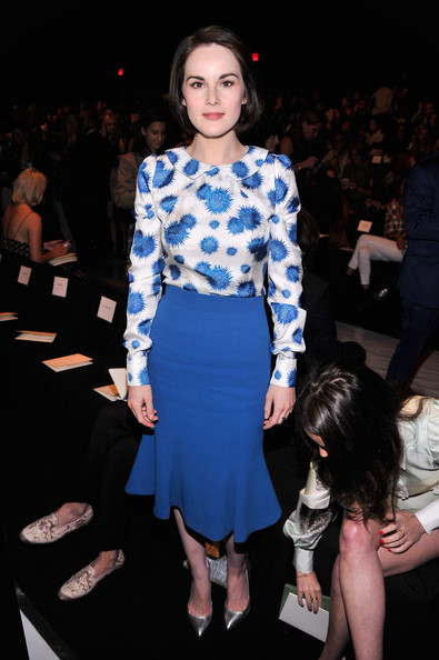Michelle Dockery Evening Pumps [fashion model,fashion,clothing,fashion show,blue,runway,dress,electric blue,event,fashion design,carolina herrera,michelle dockery,front row,lincoln center,new york city,the theatre,mercedes-benz fashion week,fashion show]