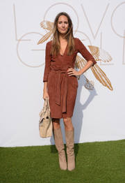 Louise Roe oozed style in a brown suede wrap-dress during the LoveGold luncheon.