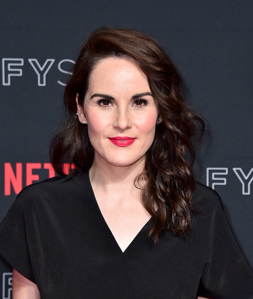 Michelle Dockery Long Wavy Cut [hair,face,lip,eyebrow,hairstyle,chin,beauty,skin,shoulder,brown hair,michelle dockery,for your consideration,godless,netflixfysee,california,los angeles,netflix fysee,red carpet,raleigh studios,event]