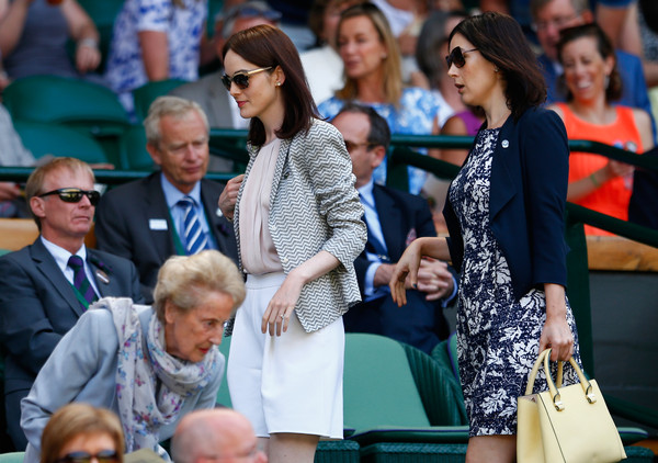 Michelle Dockery Cropped Jacket [people,audience,event,crowd,performance,recreation,tourism,sitting,england,london,all england lawn tennis and croquet club,wimbledon,michelle dockery]