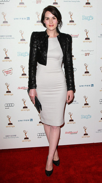 Michelle Dockery Leather Jacket [clothing,dress,cocktail dress,fashion model,shoulder,carpet,fashion,jacket,joint,leg,performers,michelle dockery,63rd primetime emmy awards,spectra,west hollywood,california,academy of television arts sciences,nominee reception,nominee reception]