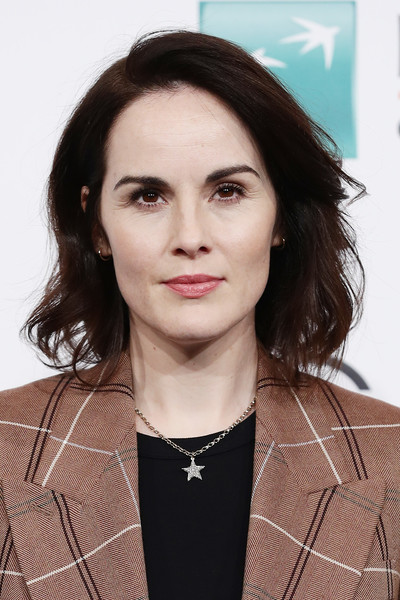 Michelle Dockery Star Pendant Necklace [downton abbey,movie,hair,face,eyebrow,hairstyle,beauty,lip,chin,fashion,neck,brown hair,michelle dockery,photocall,rome,italy,photocall - 14th rome film fest 2019,rome film festival]