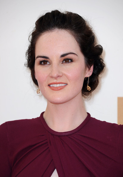 Michelle Dockery Curly Updo [hair,face,eyebrow,hairstyle,chin,lip,beauty,forehead,cheek,brown hair,arrivals,michelle dockery,primetime emmy awards,california,los angeles,nokia theatre l.a. live,annual primetime emmy awards]