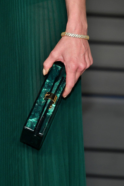 Michelle Monaghan Diamond Bracelet [green,fashion,turquoise,dress,hand,street fashion,finger,fashion accessory,nail,haute couture,jewelry,radhika jones - arrivals,michelle monaghan,radhika jones,detail,beverly hills,california,wallis annenberg center for the performing arts,oscar party,vanity fair]