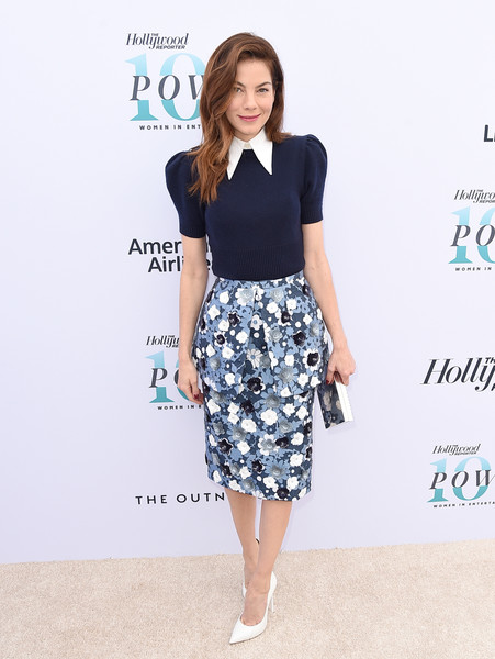 Michelle Monaghan Box Clutch [hollywood reporter,clothing,white,pencil skirt,waist,dress,fashion,crop top,footwear,neck,shirt,annual women in entertainment breakfast,michelle monaghan,los angeles,hollywood,california,milk studios]