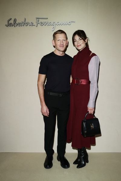 Michelle Monaghan Leather Purse [shoulder,clothing,fashion,standing,joint,fashion design,footwear,dress,event,haute couture,salvatore ferragamo,michelle monaghan,paul andrew,front row,milan,italy,milan fashion week autumn,show]