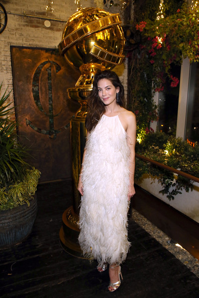 Michelle Monaghan Strappy Sandals [clothing,lady,dress,shoulder,fashion,gown,beauty,haute couture,hairstyle,long hair,michelle monaghan,west hollywood,california,hollywood foreign press association and the hollywood reporter celebration,the golden globe ambassadors,golden globe awards season,the hollywood reporter celebration]