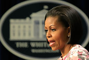 Not a strand was out of place in Michelle Obama's sleek bob as she delivered a speech during an anti-obesity campaign at the White House.