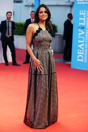 Michelle Rodriguez looked fetching in a lace-overlay gown at the Deauville American Film Festival screening of 'The Zookeeper's Wife.'
