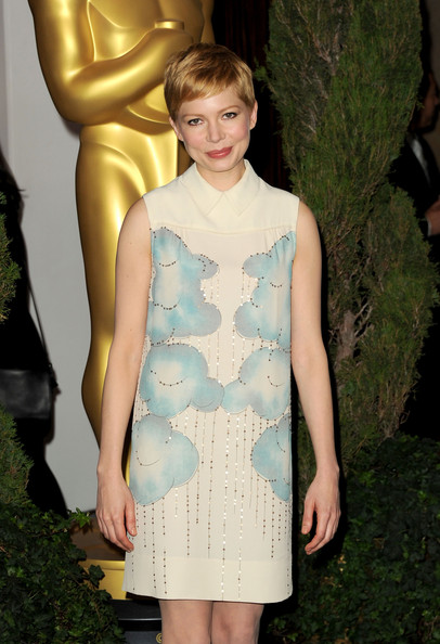 Michelle Williams Beaded Dress [clothing,fashion,dress,fashion model,cocktail dress,haute couture,hairstyle,fashion show,blond,carpet,michelle williams,oscar,stars,the beverly hilton,hotel,beverly hills,california,nomination lunch,84th academy awards nominations luncheon]