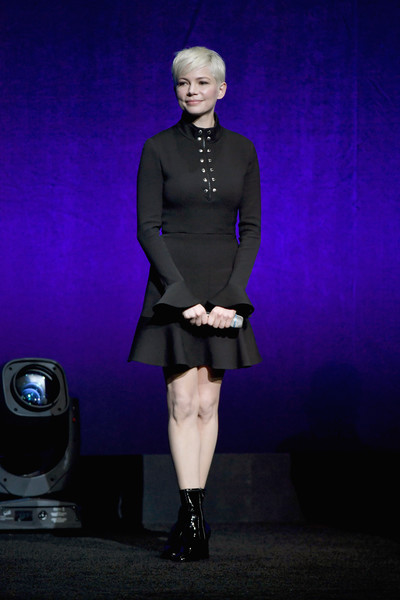 Michelle Williams Little Black Dress [summer and beyond films,fashion,purple,performance,footwear,electric blue,fashion design,event,michelle williams,sony pictures highlights,sony pictures entertainment exclusive presentation,caesars palace,the colosseum,cinemacon,opening night event,cinemacon 2018 gala opening night event,convention]