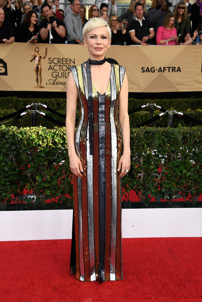 Michelle Williams Sequin Dress [flooring,carpet,red carpet,dress,fashion,gown,fashion model,outerwear,formal wear,girl,arrivals,michelle williams,screen actors guild awards,los angeles,california,the shrine auditorium,michelle williams,23rd screen actors guild awards,24th screen actors guild awards,screen actors guild award,screen actors guild,red carpet,actor,award,red carpet fashion,film awards seasons]