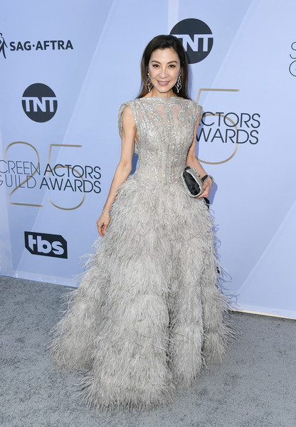 Michelle Yeoh Sequin Dress [clothing,dress,shoulder,fashion model,red carpet,fashion,hairstyle,carpet,gown,waist,arrivals,michelle yeoh,screen actors guild awards,screen actors\u00e2 guild awards,california,los angeles,the shrine auditorium]